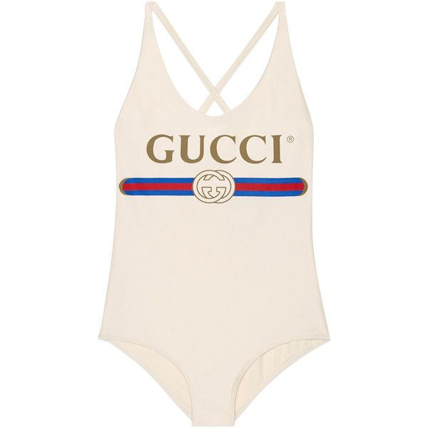 d57dc5a3dadb8 Sparkling Swimsuit With Gucci Logo ($490) ❤ liked on Polyvore featuring  swimwear, one-piece swimsuits, ivory, gucci swimsuit, sparkly bathing suits,  ...