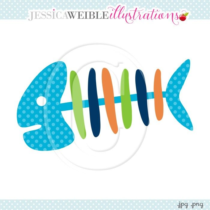 Fish Bones Clipart - JW Illustrations
