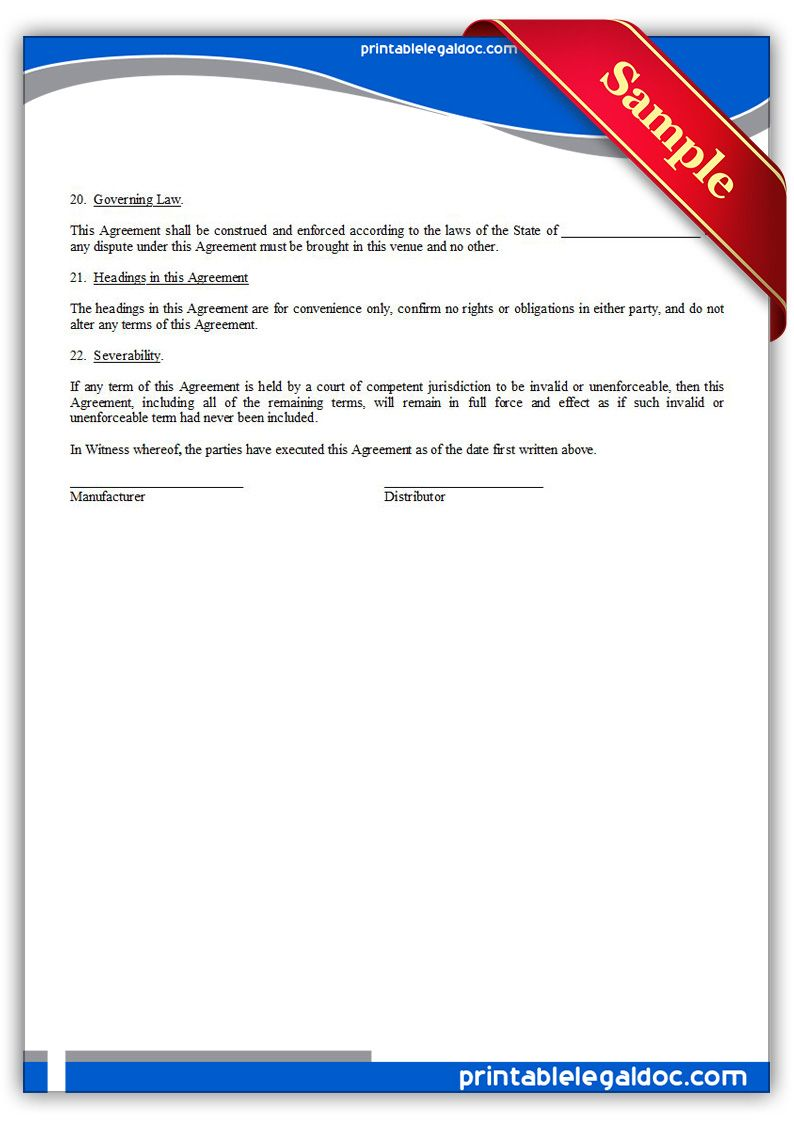 Printable Distributor Agreement Exclusive Template  Printable