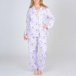 La Cera Women's Plus Size Lilac Fairy Print Flannel Pajama Set