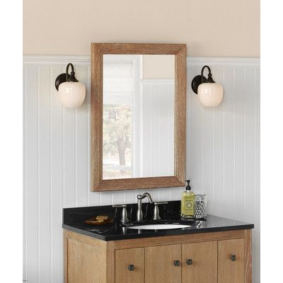 "Ronbow Transitional 24"" x 33"" Solid Wood Framed Bathroom Mirror in Vintage Honey"