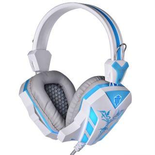 Cosonic 618 CD estéreo bajo ruido aislando con micrófono luz LED juego auriculares para PC azul y blanco