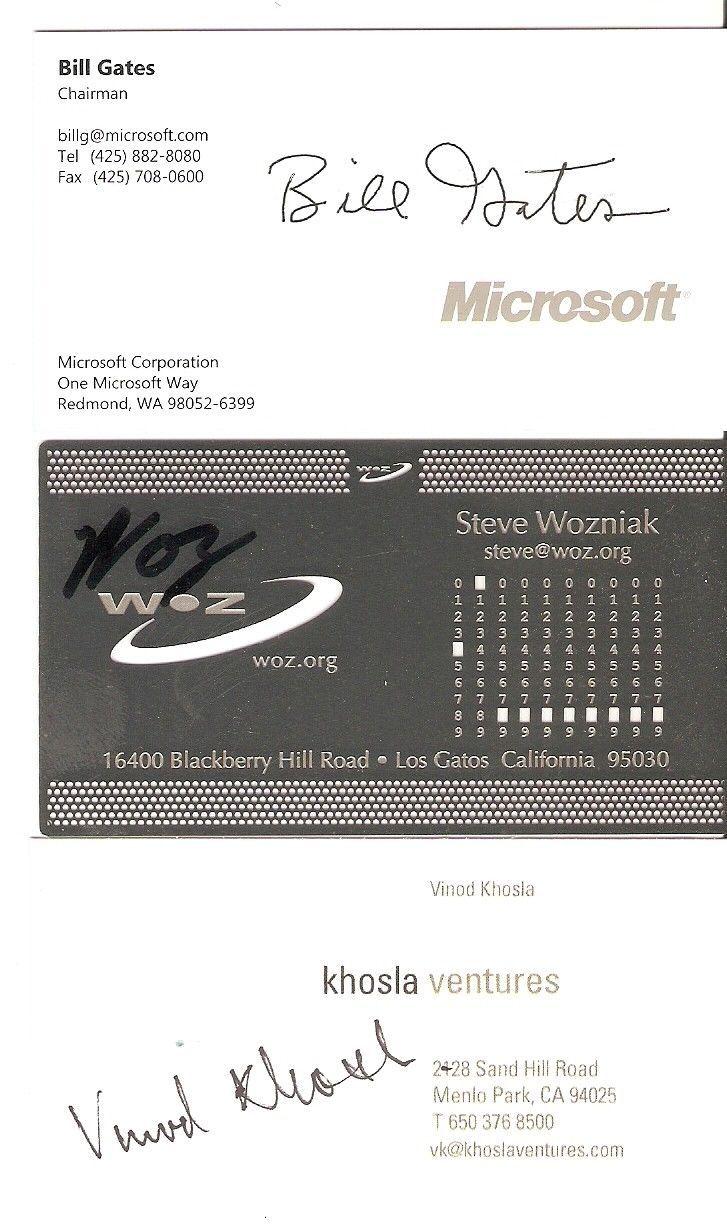 Microsoft,woz,khosla autograph business card lot * bill gates,steve ...