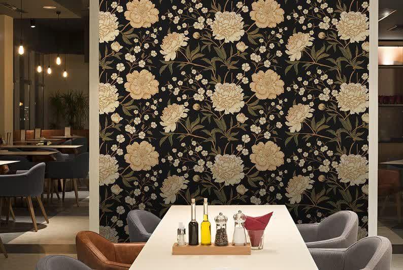 Gold Peony On The Dark Wallpaper Self Adhesive Wallpaper Etsy White And Gold Wallpaper Grey Wallpaper Bedroom Grey And White Wallpaper
