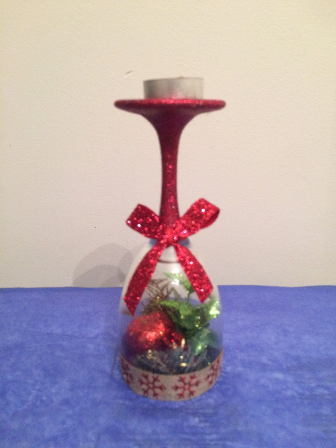 Wine glass creation - glasses and candle holder - can be be customized for the perfect unique gift by Asquaredwinedesigns on Etsy https://www.etsy.com/listing/255402640/wine-glass-creation-glasses-and-candle