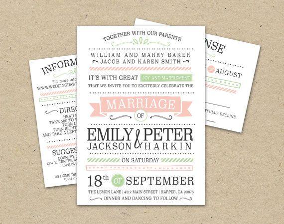 Vintage Modern Wedding Invitation And Rsvp Templates Prints Print Modern Vintage Wedding Invitations Modern Wedding Invitations Vintage Wedding Invitations