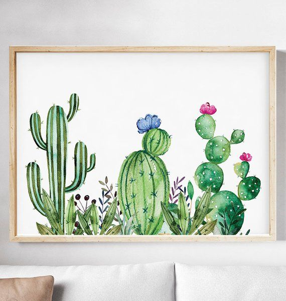 Kaktus Aquarell Druck, saftig Wandbilder, Nopales Kunst, Aquarell Poster Mammillaria Kaktus, Kaktus-Dekor, Saguaro-Kaktus, Digital Druck #succulents