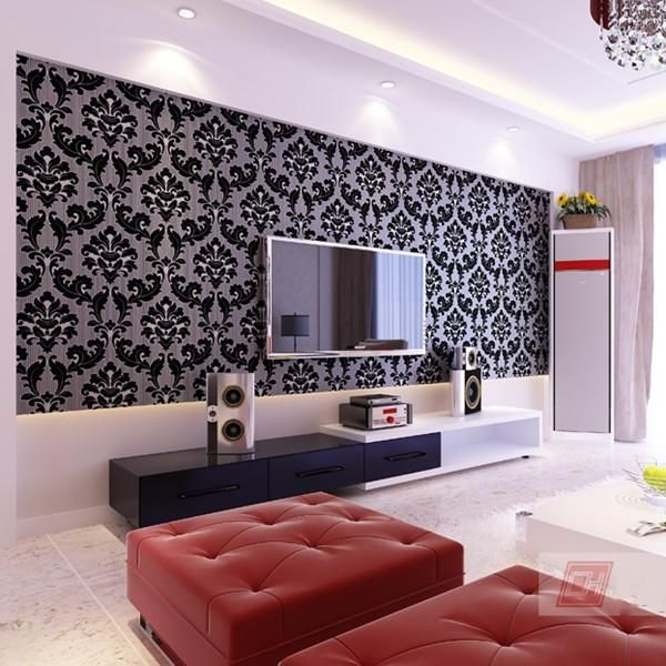 Vintage Non Woven Flocking Modern Romantic Wallpaper Wp86 Home Theater Installation Wallpaper For Home Wall Tv Wall Mount Installation