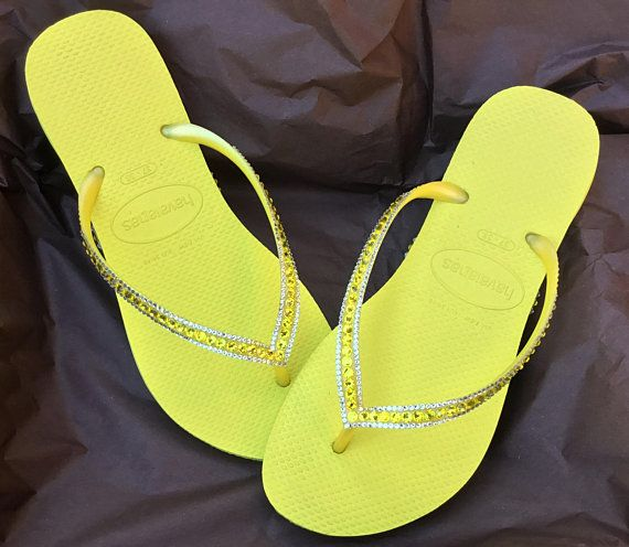 f3c8919ca78e Yellow Havaianas flat Slim flip flops Custom Neon Citrine w  Swarovski  Crystal Rhinestone Jewels Sophisticate Beach Wedding Bridal flat Shoe
