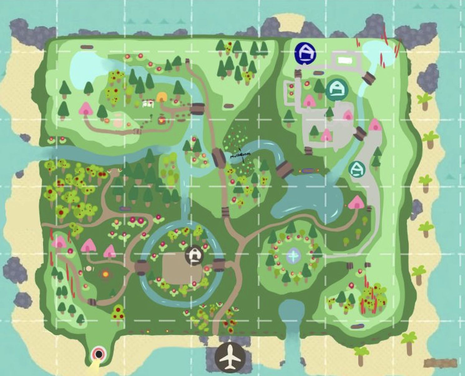 Animal Crossing New Horizons Map Design Ideas Crossingcharm Animal Crossing New Animal Crossing Map Layout