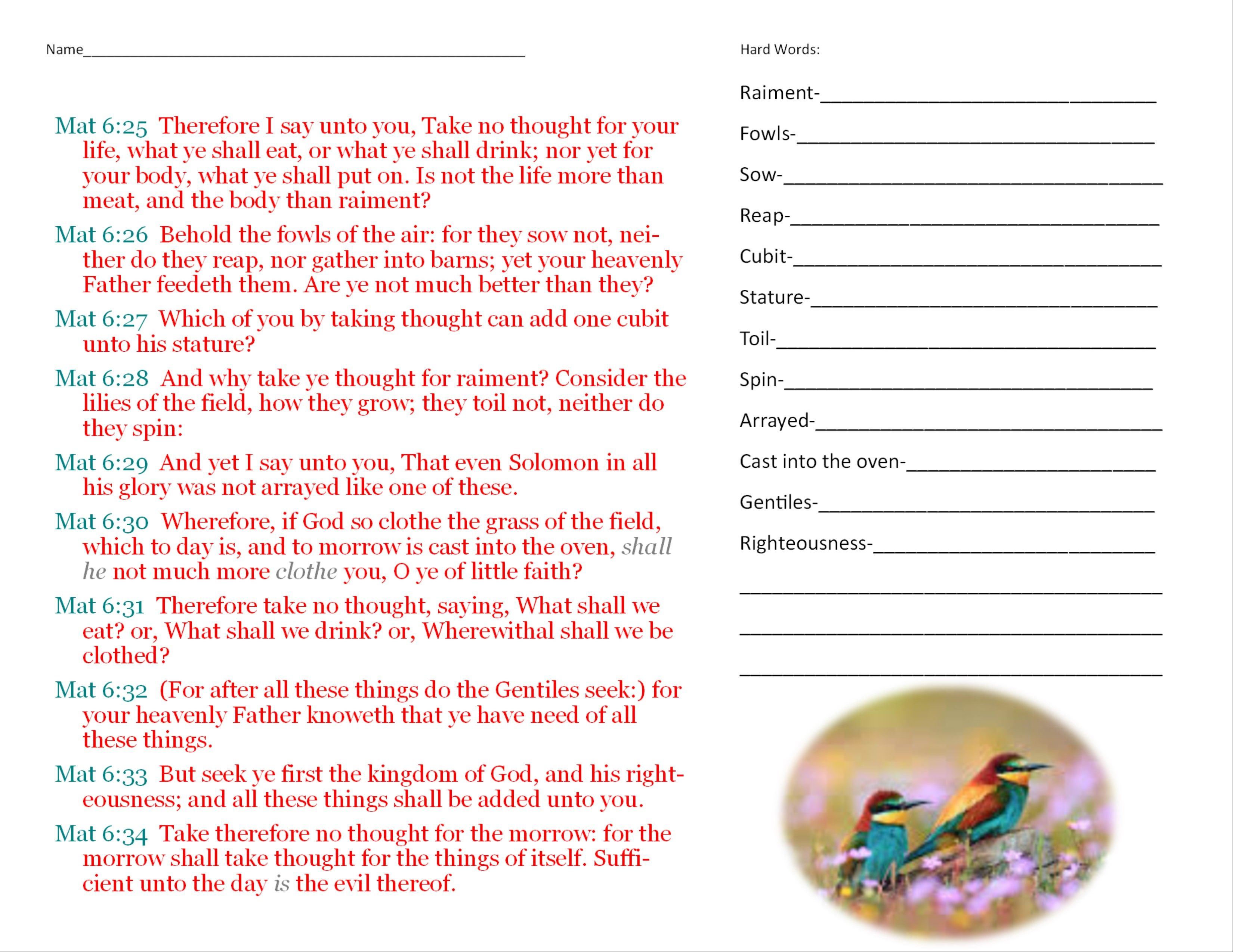 This Is A Worksheet For A Lesson On Matthew 6 25 34 It Has The