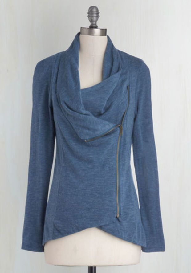 Travel Mid-length Long Sleeve Airport Greeting Cardigan in Blue by ModCloth