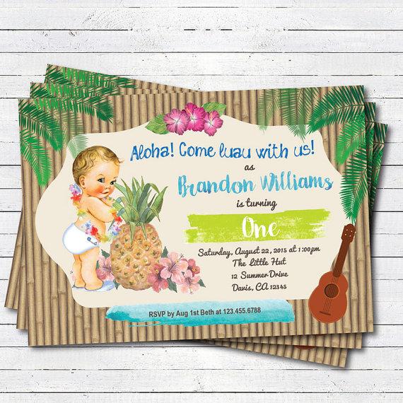 Hawaiian Luau Boy 1st First Birthday Invitation Vintage Baby Summer Tropical Pool Party Beach Birt