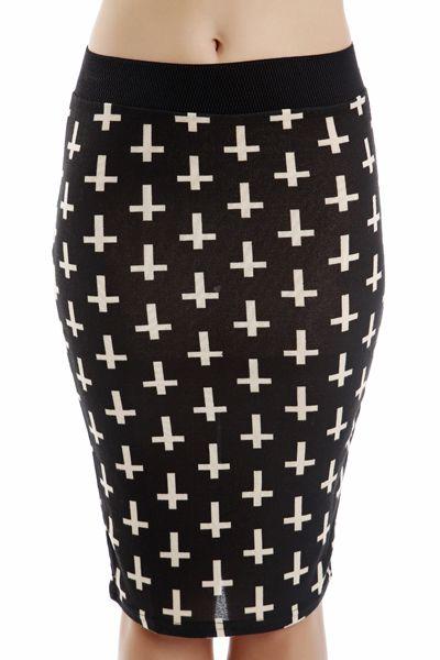 Cross Knitted Bodycon Skirt