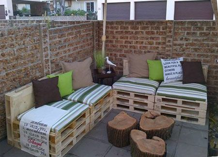 Pallet Patio Furniture #WoodPalletIdeas >> Learn more at http//wiselygreen.