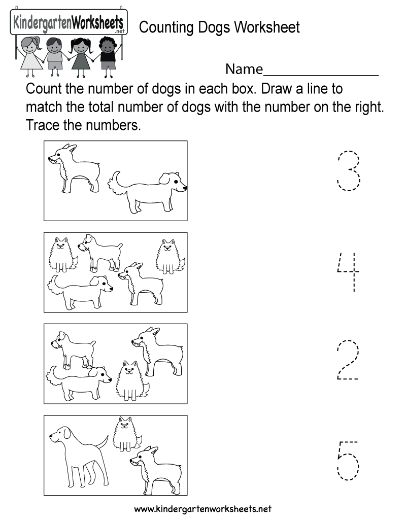 This is a dog counting worksheet for preschoolers or kindergarteners ...