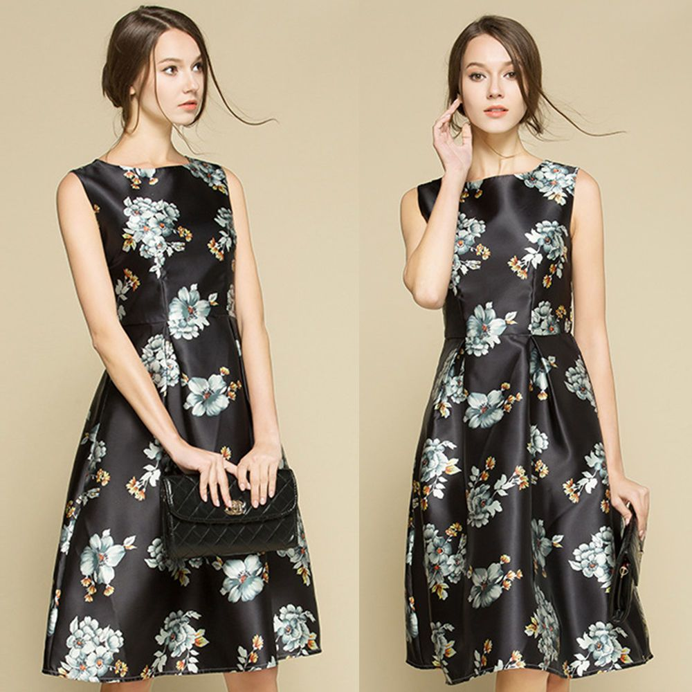 Women elegant vestidos flared dress floral black cocktail lady dress