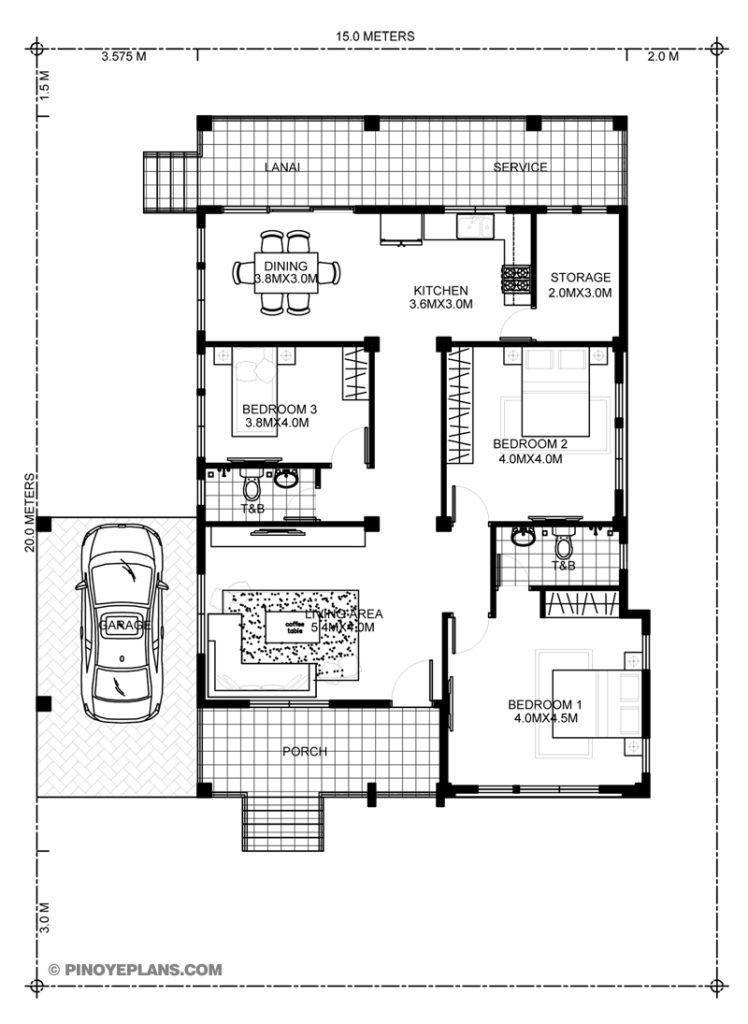 3 Bedroom House Plans 2021 Arsitektur Rumah Rumah Indah Denah Rumah