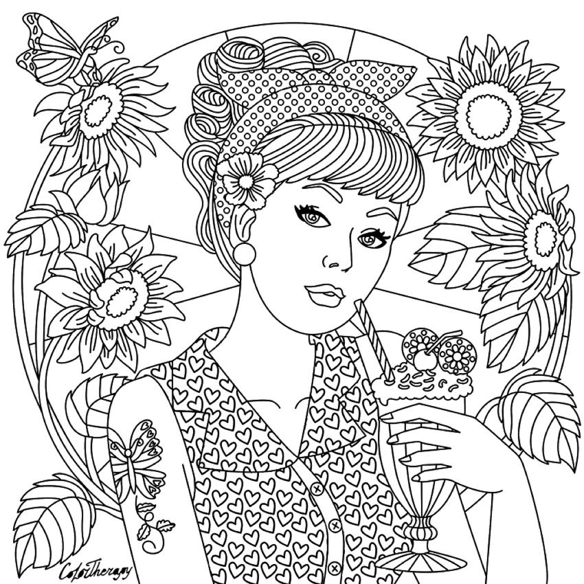 Girl on Color Therapy app Coloring pages Coloring books