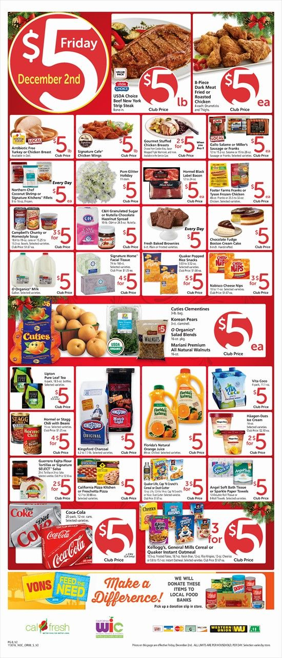 Vons $5 Friday Ad December 2, 2016 - http://www.olcatalog.com/grocery/vons-5-friday.html
