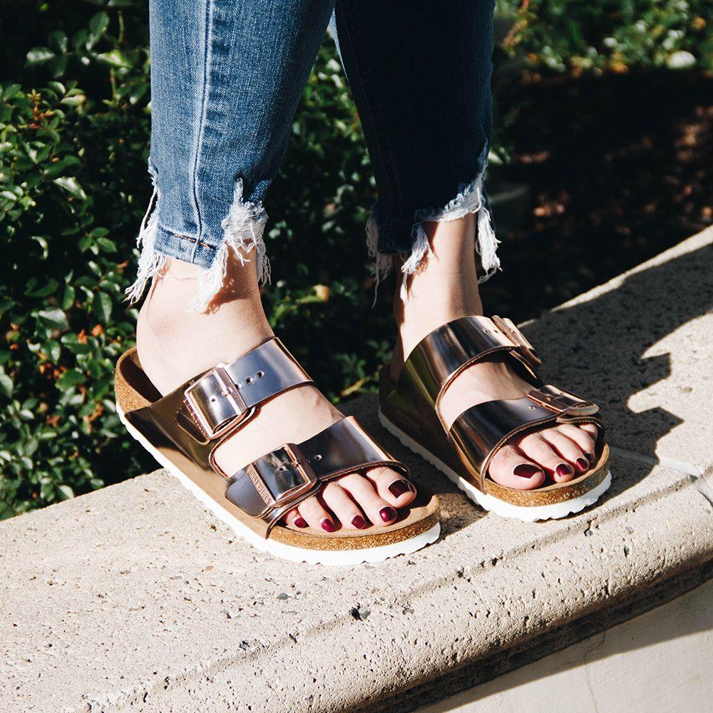 Birkenstock Arizona Soft Footbed Women S Leather Sandal In Metallic Copper Leather Sandals Women Metallic Birkenstocks Rubber Sandals