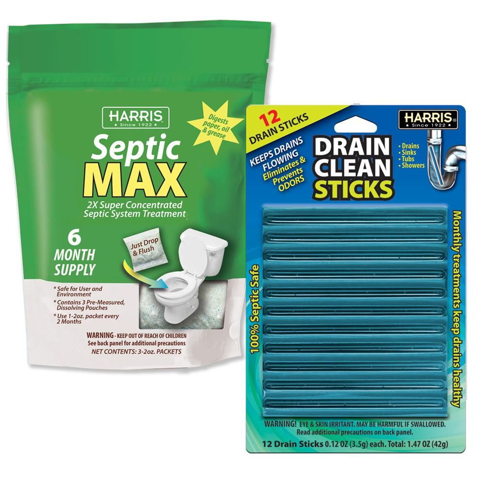 Harris Septic System And Drain Care Value Pack Est6mo Dstick12 The Home Depot In 2020 Septic System Drain Cleaner Biodegradable Products