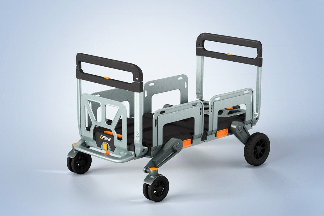 Erovr Is The Uber Versatile Folding Cart Wagon System That S Capable Of Transforming Into A Mover S Dolly Handcart Flat Cart Folding Cart Kids Wagon Design