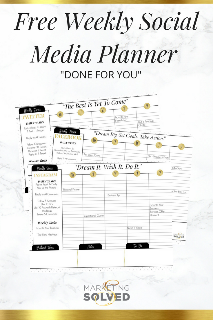 free weekly social media planners done for you marketing solved