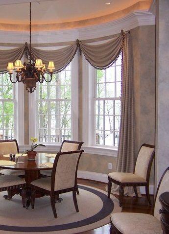 Bay Windows Dining Room Window Treatments Window Treatments Living Room Dining Room Curtains