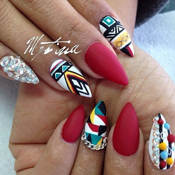 Aztec nail art designs are shown here with HD images so that girls can look  at these and have the clear idea on how to design this nail art. - Matte Aztec Designs With Crystals Barbarabeauté Barbarabeaute