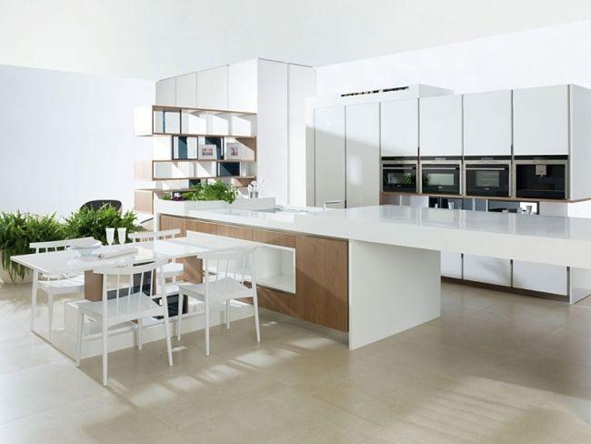 Moderne-Küche-weiß-holz-essmöbel-eigebaute-geräte-Gamadecojpg (650 - küche weiß mit holz
