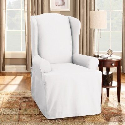 Cotton Duck Wing Chair Slipcover White Sure Fit Slipcovers For