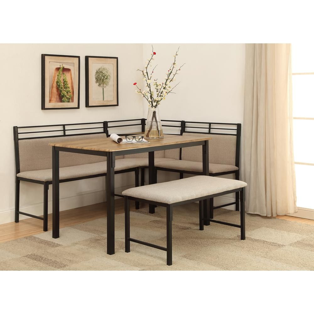 Boltzero 3 Piece Black and Tan Corner Dining Nook Set Washed