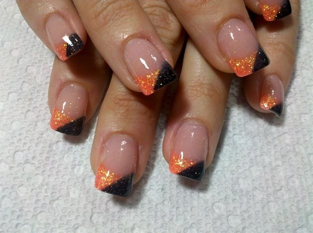 nail design autumn ideas glitter paint orange black french ...