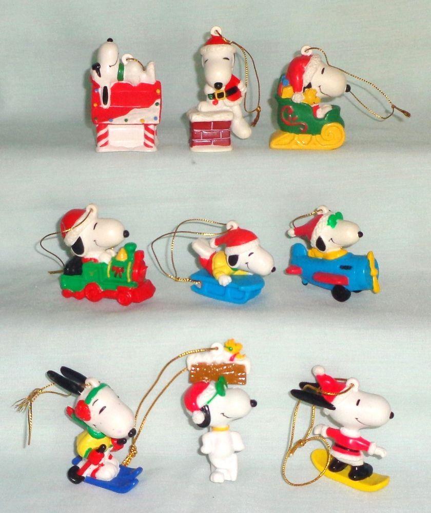 PEANUTS SNOOPY WHITMAN'S CHOCOLATE PVC VINYL FIGURE CHRISTMAS ORNAMENT LOT #peanuts