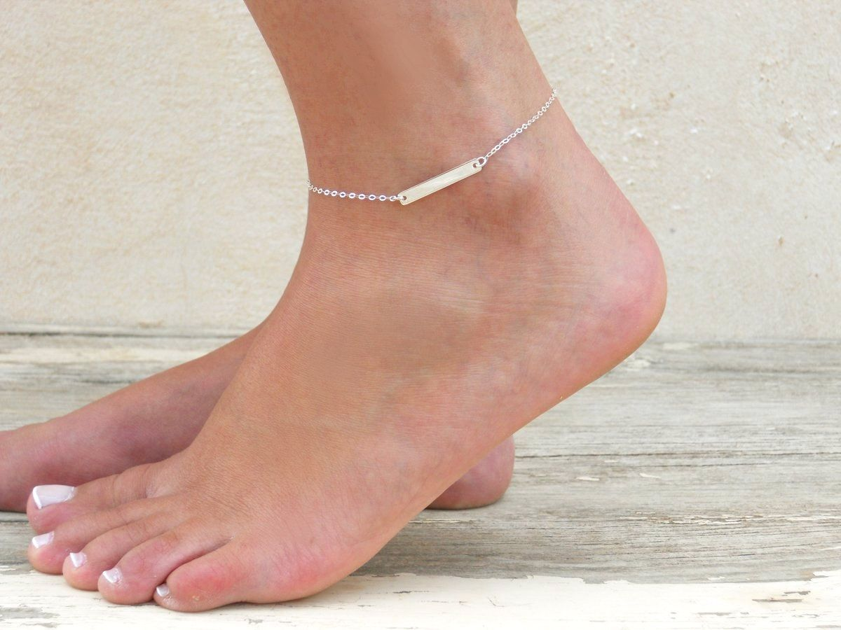 anklet ja appl adjustable ankle snowflake real jewelry az silver bracelets dangling bling bracelet