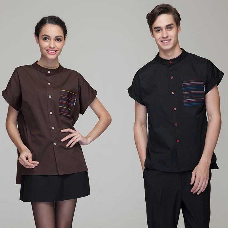 5dd6186a8796e Fashion Restaurant Hotel Uniform Women Female Waitress Blouse Men Male  Waiter Shirt Short Sleeve Single Button