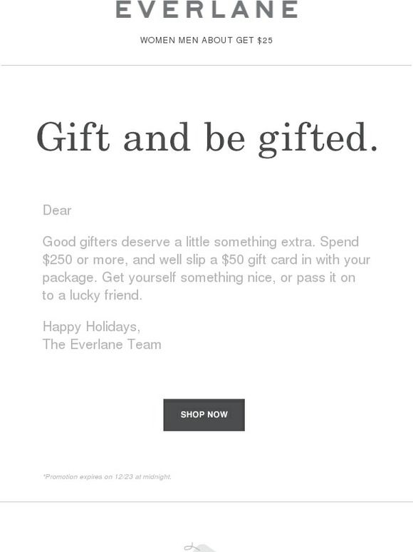 We'll Throw In A Gift Card - Everlane | Emails | Pinterest