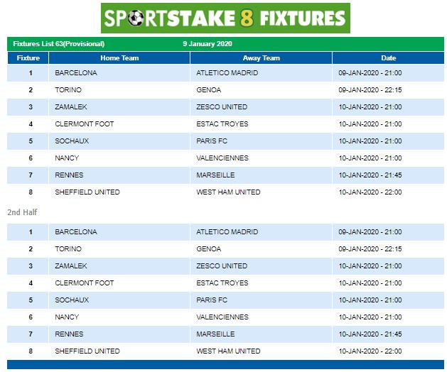 Sportstake 8 Mid Week Fixtures 09 January 2020 Https Www Playcasino Co Za Sportstake 8 Mid Week Fixtures Html In 2020 Fixture List Fixtures Football Fixtures