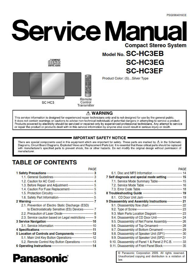 Panasonic SC HC37 HC37EC HC37EG HC37EF HC37EE Stereo