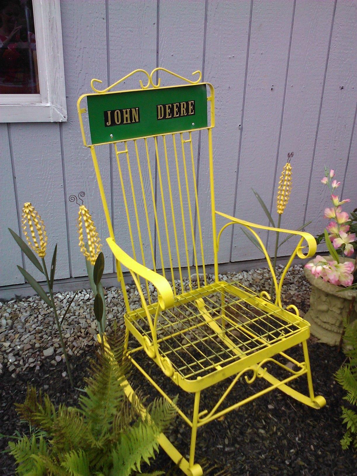 Chair Decorated In John Deer Theme Yard Art