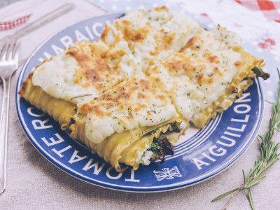 Lasagne de Kale et champignon, sauce chou-fleur et gorgonzola