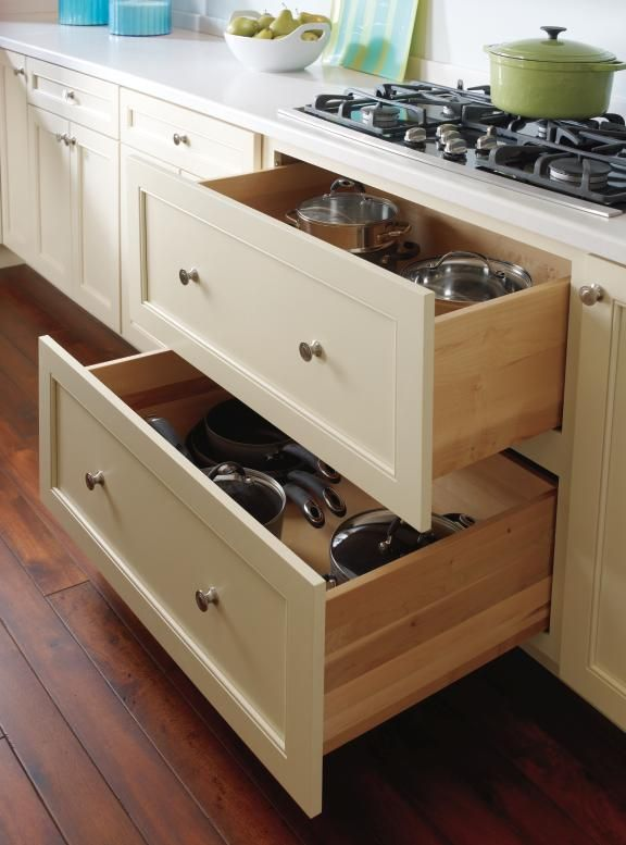 Two Deep Drawers Are Perfect For Pots Pans Or Any Taller