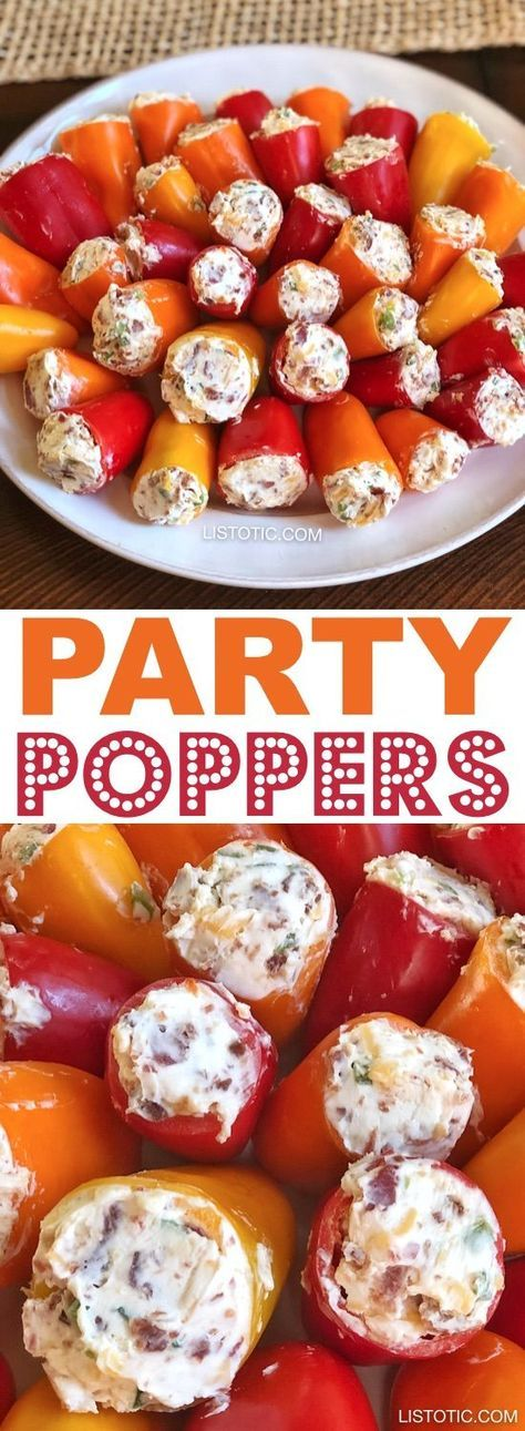 Party Poppers (stuffed mini peppers recipe) | This easy make ahead appetizer for a party is the perfect finger food for a crowd! It's also low carb and gluten free! The combination of cream cheese, bacon and jalapeño's is absolutely awesome. Great for 4th of July or any holiday party! Listotic.com #foodanddrink