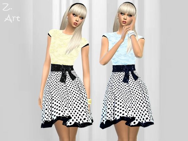 The Sims Resource: Retro Dots dress by Zuckerschnute20 • Sims 4