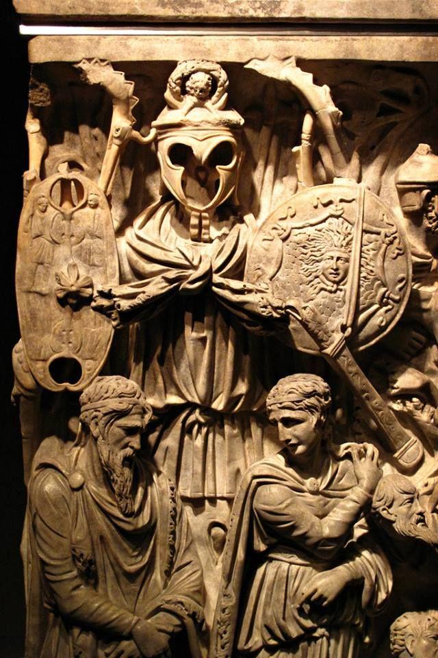 Detail, the Portonaccio Sarcophagus. It was discovered in 1931 near Via Tiburtina, in the eastern suburbs of the Rome.