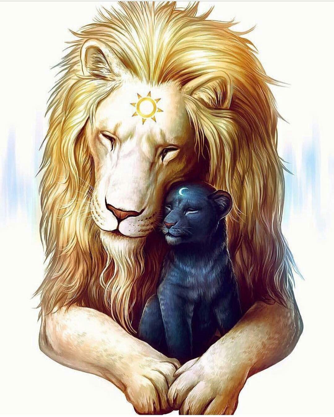 Солнце и луна | Лев живопись, Лев картинки, Картинки со львом