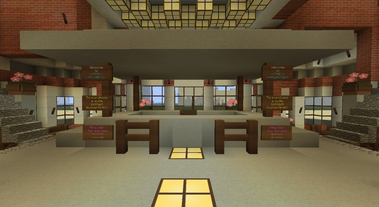 Minecraft Hotel Lobby Signs Minecraft Room Decor Minecraft Room Minecraft Interior Design