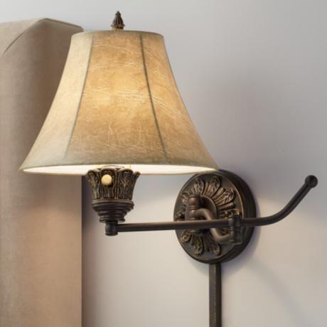 Set of 2 Bronze Plug-In Swing Arm Wall Lamps - #U3740 | LampsPlus.com