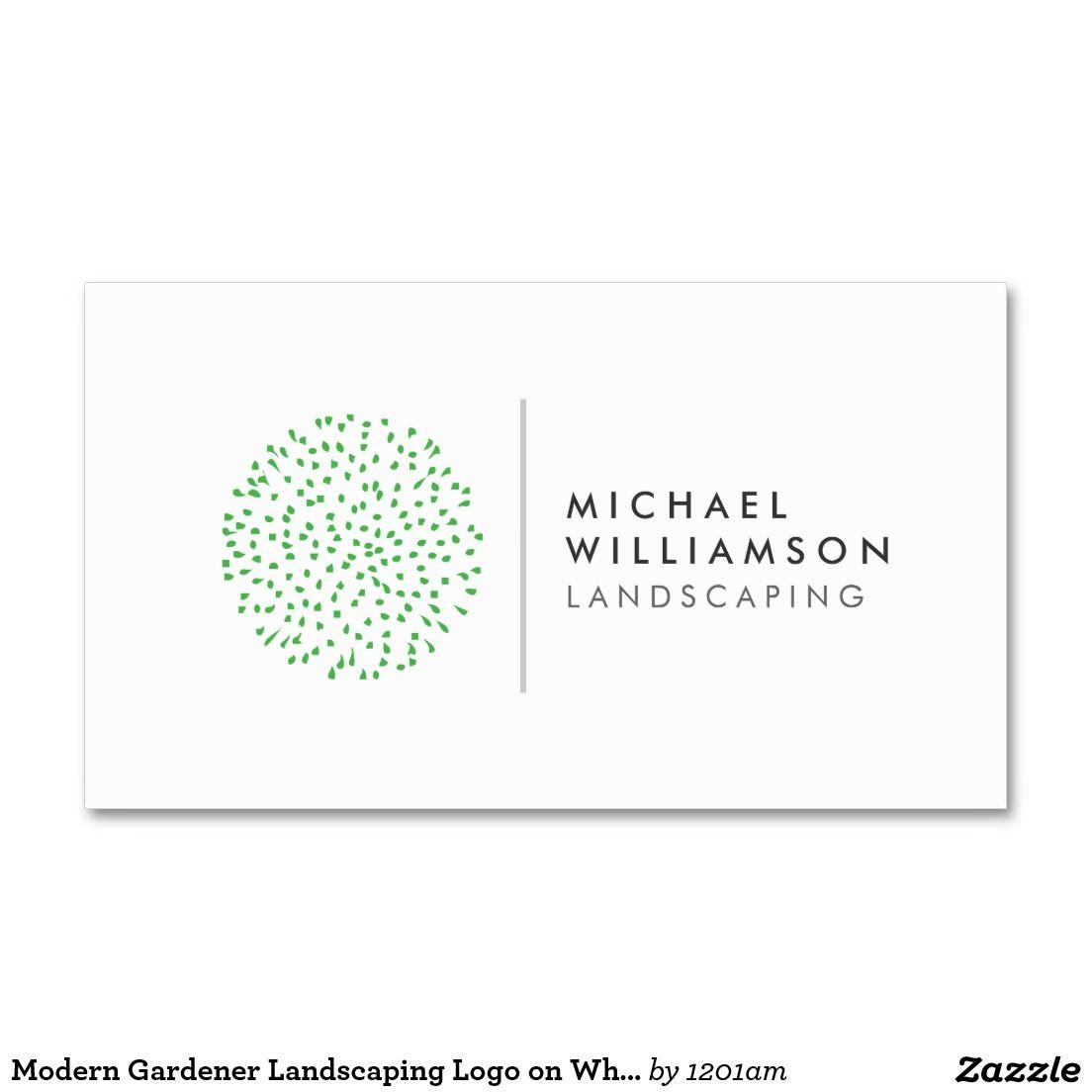 Modern Gardener Landscaping Logo on White Business Card | Business ...